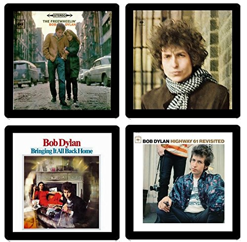 Bob Dylan Collectible Coaster Gift Set #2 ~ (4) Different Album Covers Reproduced on Soft Pliable ()