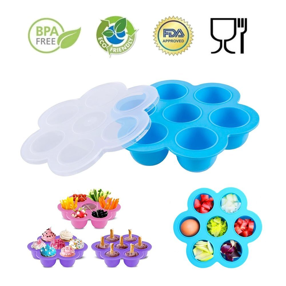 7 Cavity Baby Food storage Preparation & Container Tray,Silicone Egg Bites Molds for Instant Pot Accessories - Fits Instant Pot 5,6,8 qt Pressure Cooker, Reusable Storage Container and Freezer Tray with Lid SHareling CA70RCF114