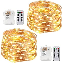 Kohree String Lights LED Copper Wire Fairy Christmas Light with Remote Control, 33ft/10M 100LEDs, AA Battery Powered, Decor Rope Lights for Holiday, Wedding, Parties, Waterproof Battery Box Pack of 2