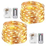 Kohree 60LEDs Fairy String Lights with Remote Control, AA Battery Powered on 20ft/6M Long Ultra Thin String Copper Wire,Seasonal Decor Rope Lights For Christmas, Wedding,Parties With Battery Box