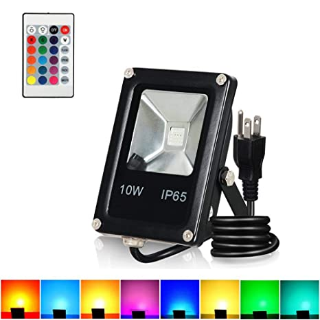 10w Rgb Led Flood Lights Outdoor Color Changing Floodlight With Remote Control T Sunus Ip65 Waterproof 16 Colors 4 Modes Dimmable Wall Washer Light