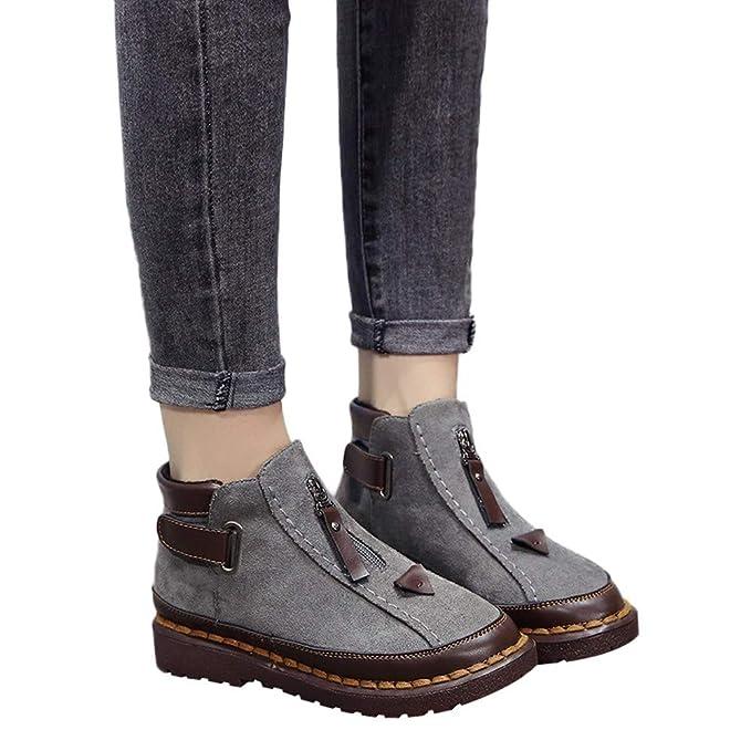 ❤️British Viento Chelsea Botas, Empalme Color Moda Invierno Mujeres Color de Suela Gruesa Brock Plana Boot Invierno Absolute: Amazon.es: Ropa y accesorios