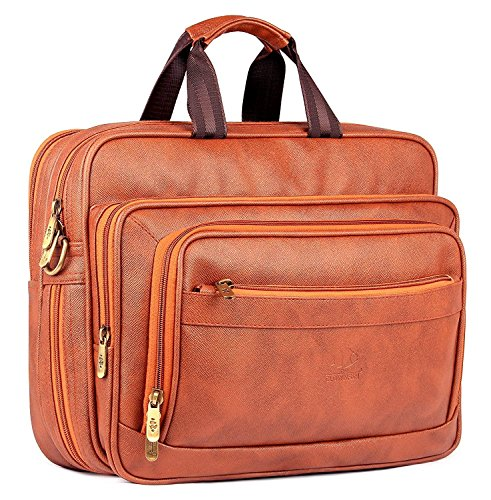 Luxury Hub The Clownfish Executive Laptop Briefcase | 15.6 inch Laptop Bag | Unisex Office Bag | Tablet Bag (Cinnamon) best leather quality (Executive Hub)
