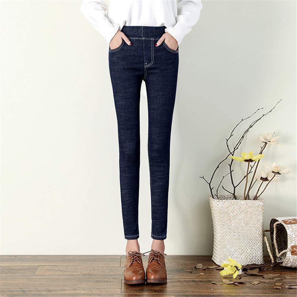 Jeans Spessi Invernali Foderati in Pile ZHAOXX Jeggings in Denim da Donna in Pile Termico Pantaloni Slim a Vita Alta Senza Cuciture Usura Esterna