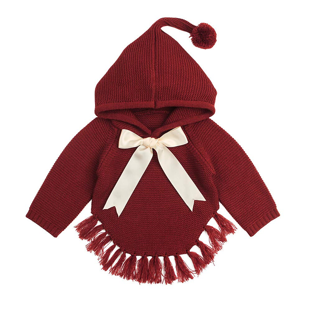 Baby Girls Knitted Cloak Jacket Bow Tassel Hoodies Coat Soft Warm Outerwear 1-3 Years Newborn Girls Cashmere Parka Jacket Long Sleeve Winter Cloth