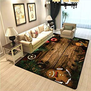 Christmas Living Room Bedroom Mat Area Rug Gingerbread Man Gift Box Coniferous Pine Cinnamon Dessert on Rustic Wood Theme Soft Comfy Area Rugs for Bedroom Brown Green W4xL6 Ft