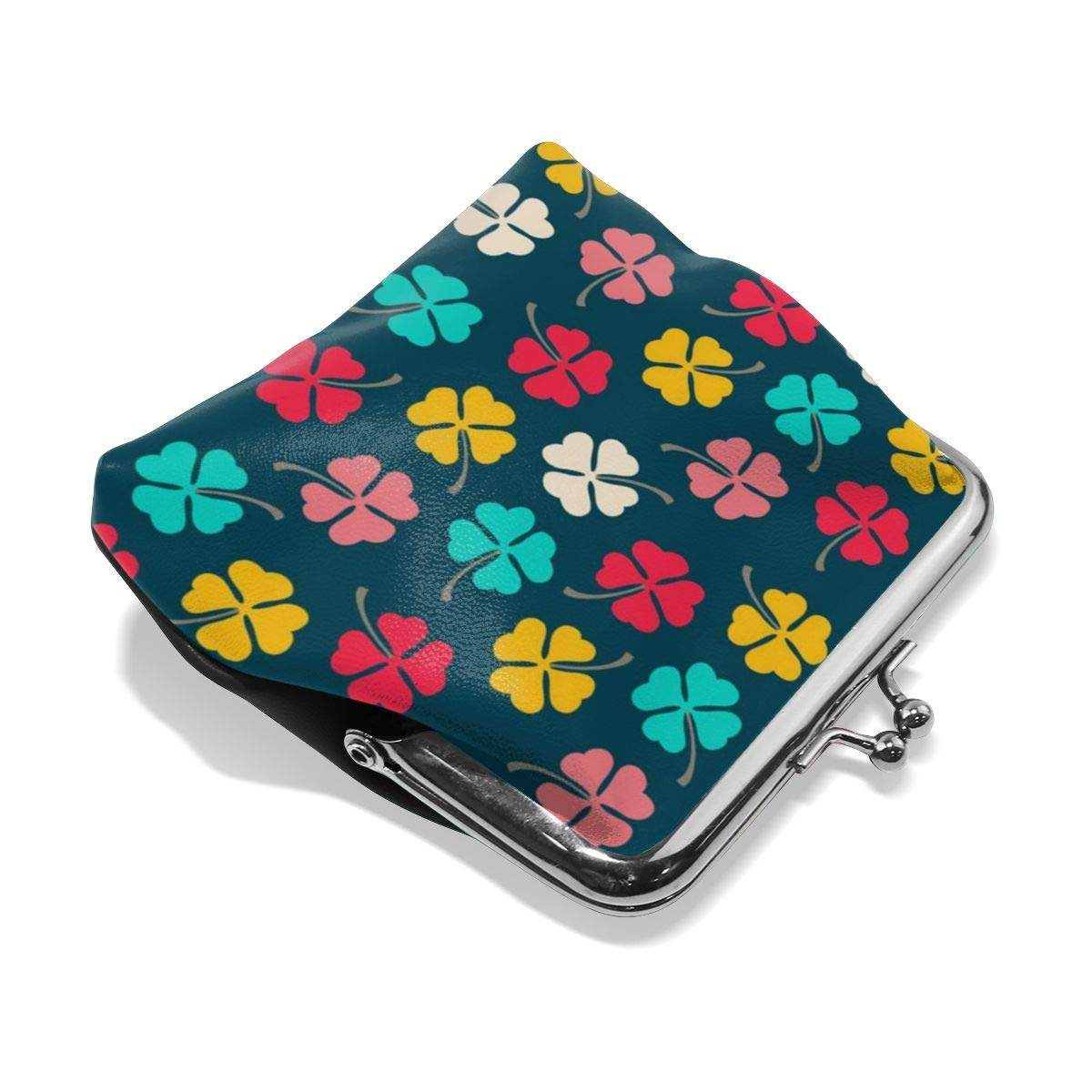 Womens Color Irish Clover Buckle Coin Purses Clutch Pouch Wallet