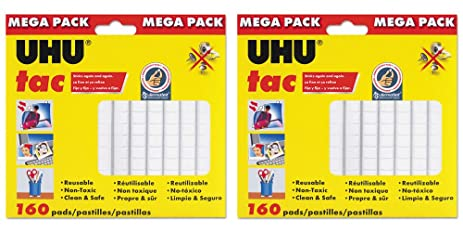 Saunders Uhu Tac Mega Pack, Adhesive Reusable Putty, 4.23 Oz. (120g)