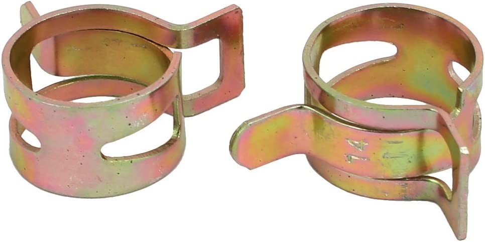 uxcell 100 Pcs 18mm Spring Band Type Action Fuel Hose Pipe Air Clamp Bronze Tone