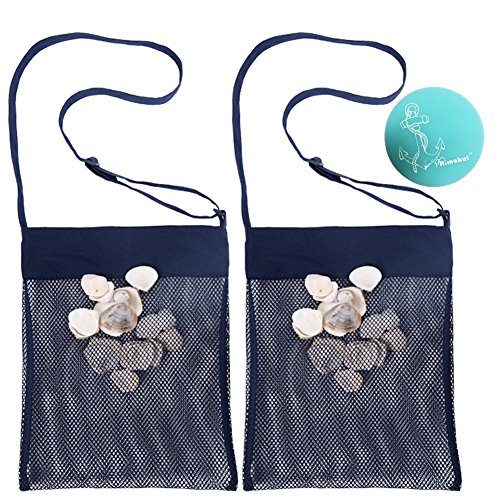 Rimobul Sand Away Beach Treasures Seashell Pocket Mesh Bags - Set of 2 (Large) (Navy Blue)