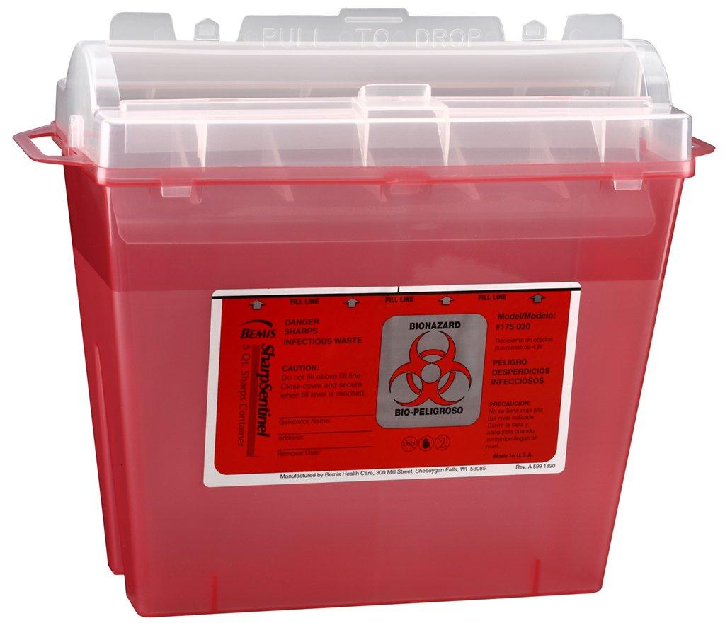 Bemis Healthcare 175030-5 5 Quart Sharps Container, Translucent Red (Pack of 5) 61bCiruqa4L