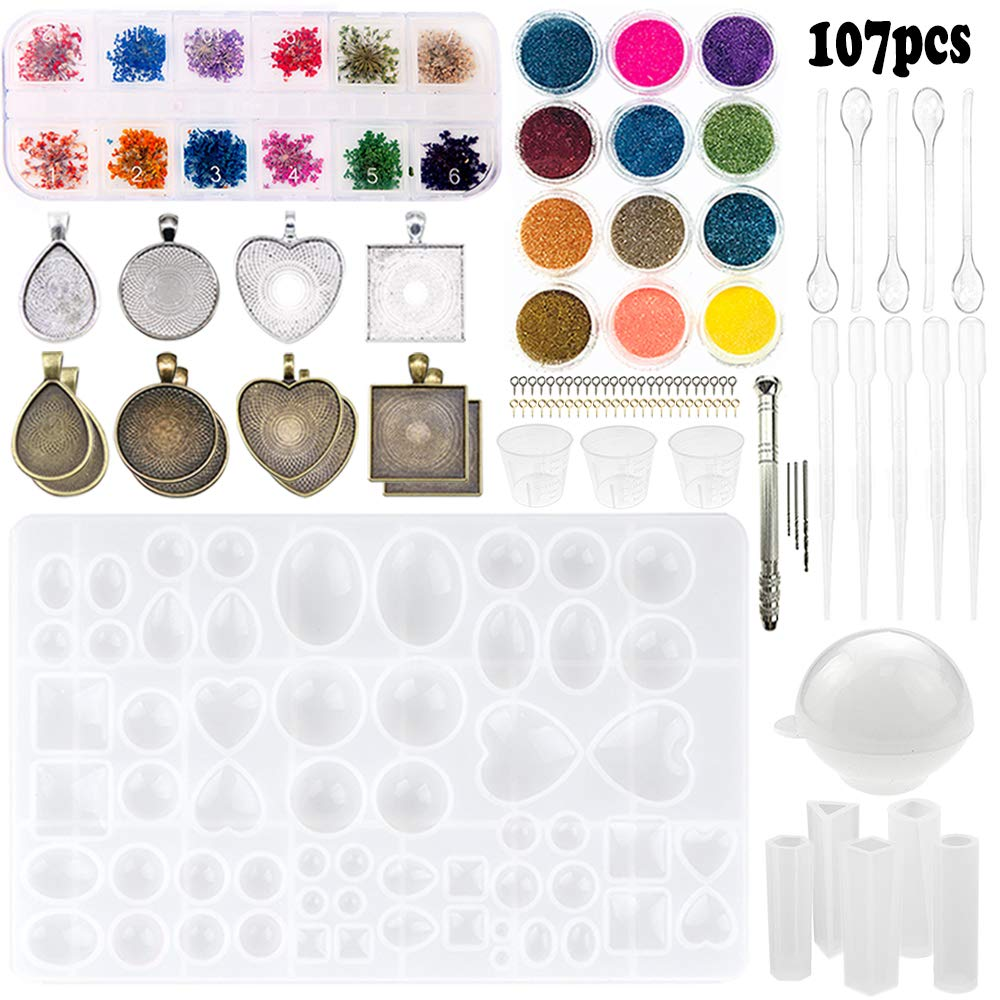 Sthabt - 107pcs Silicone Resin Jewelry Casting Mold with Glitter and Flower Decoration DIY Artcraft Project Gift Pendant Making Tools Set for Beginners by SthAbt