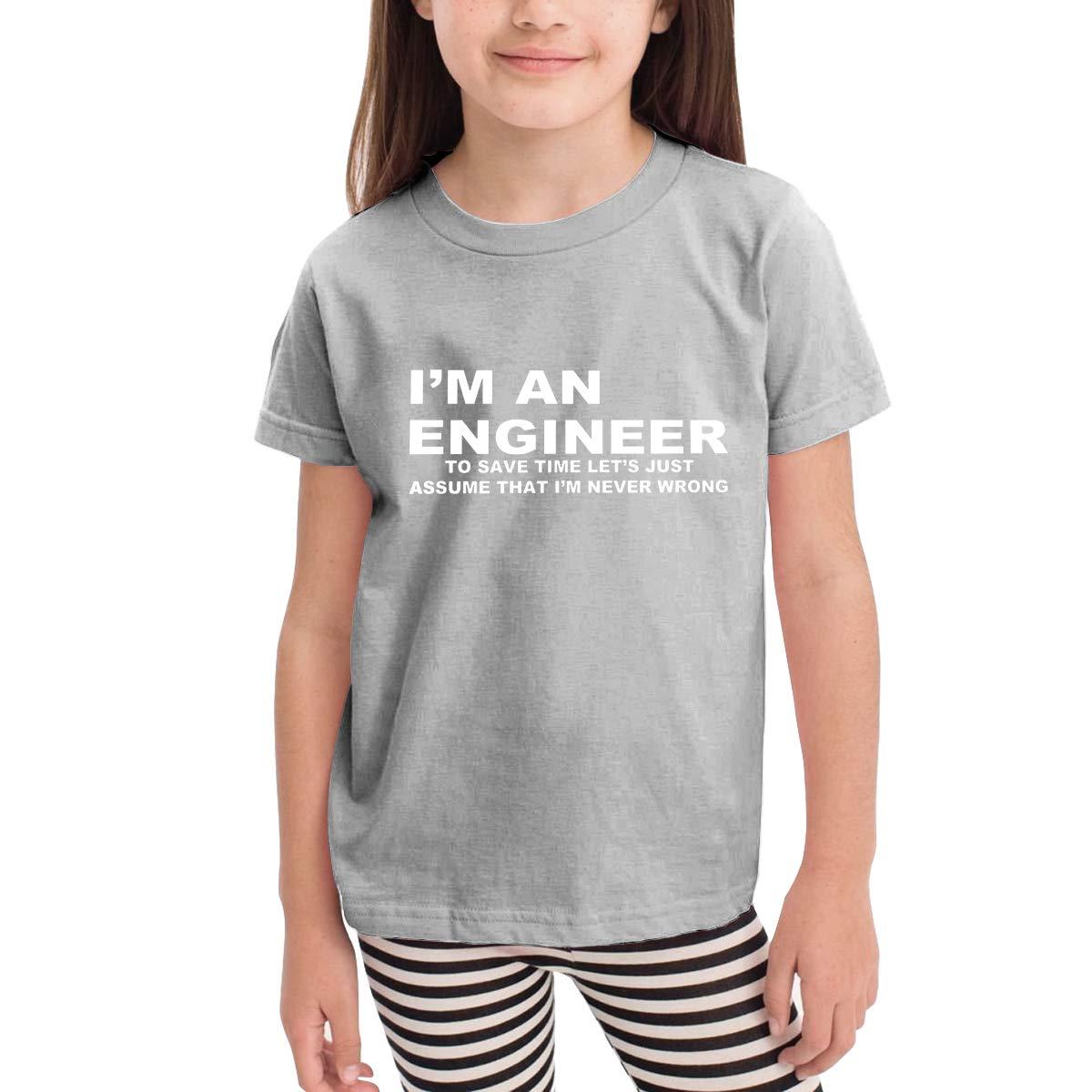 Im an Engineer Never Wrong Unisex Youths Short Sleeve T-Shirt Kids T-Shirt Tops Black