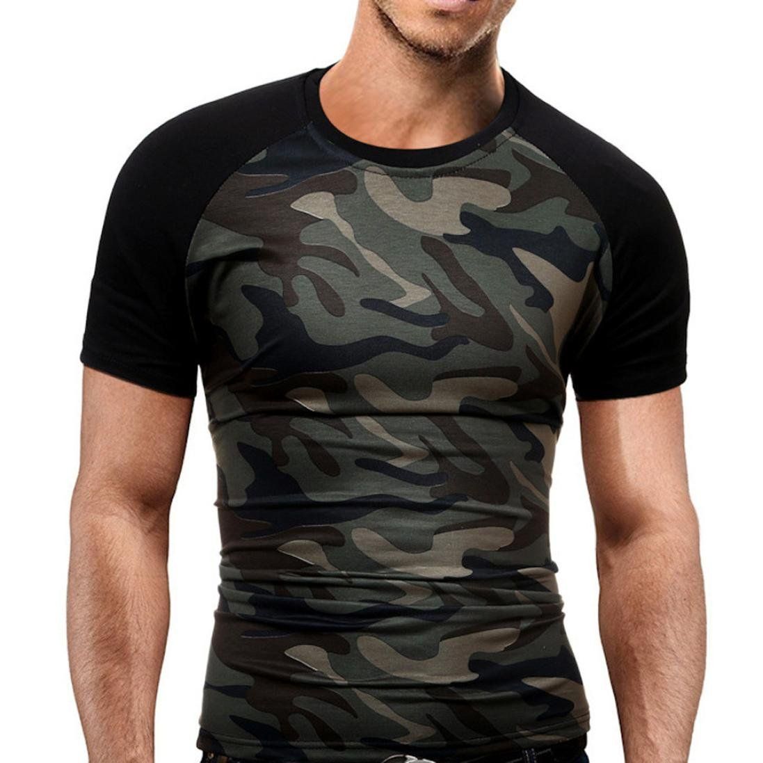 Sumen Men's Slim T-Shirt Military Camouflage O-Neck Short Sleeve Activewear