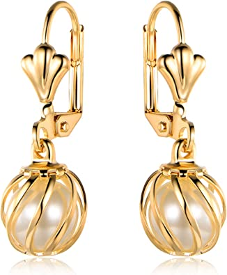 gold plated Mixed pearls drop earrings