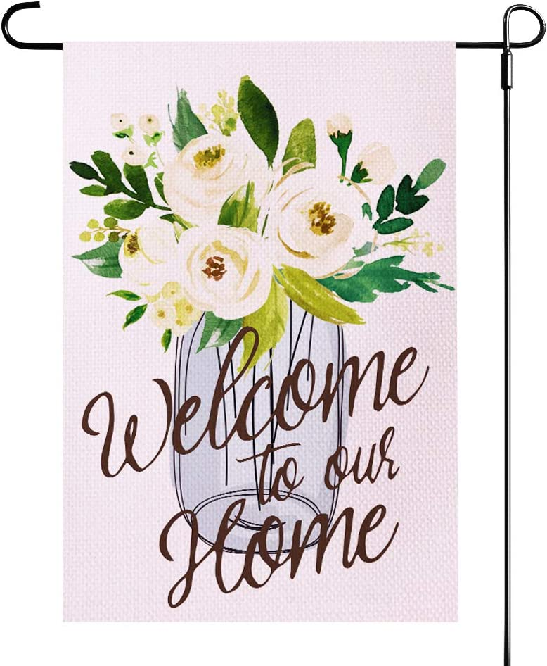 ZanLLW Fall Flower Welcome to Our Home Garden Flag, Small Size Burlap Double Sided Decorative Flag, Seasonal House Flag, Garden Yard Banner and Decoration, Vertical Outdoor Flag,12.5x18 Inch