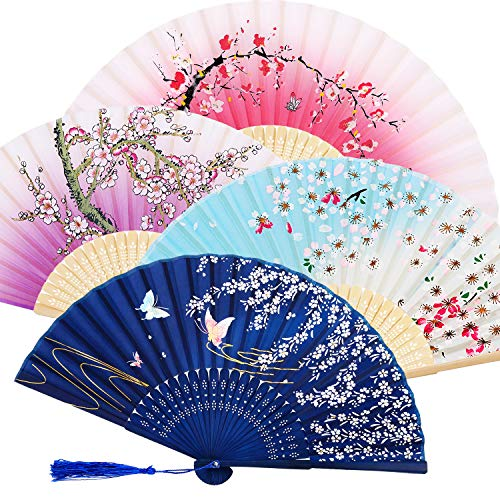Zonon Handheld Floral Folding Fans Hand Held Fans Silk Bamboo Fans with Tassel Women's Hollowed Bamboo Hand Holding Fans for Women and Men (Purple, Dark Blue, Pink and Sky Blue)