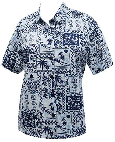 hawaiano cuello novio camisa blusas para mujer ropa de playa impresos de manga corta casuales azul marino