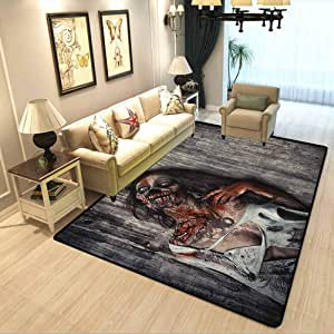 Zombie Carpet for Kitchen,Carpet mat Angry Dead Woman Sacrifice Fantasy Design Mystic Night Halloween Image Super Soft Living Room Floor Rug Dark Taupe Peach Red W6.5xL9.8 Feet