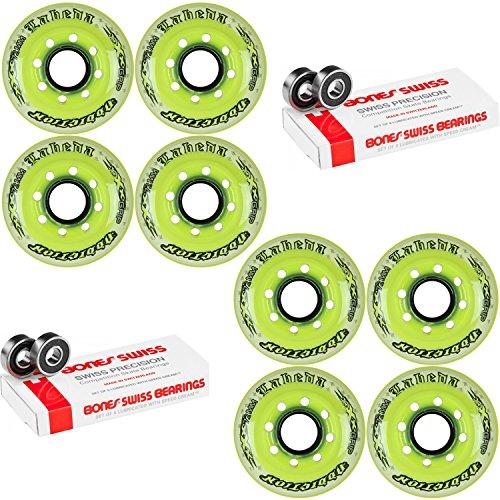 Labeda Addiction Wheels XXX Grip Yellow/White 72mm Roller Hockey x8 +Bones Swiss by Labeda