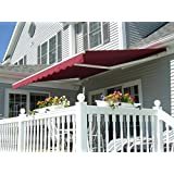 ALEKO Retractable Patio Awning 12ft x 10ft (3.65m x 3m) Solid Burgundy Color