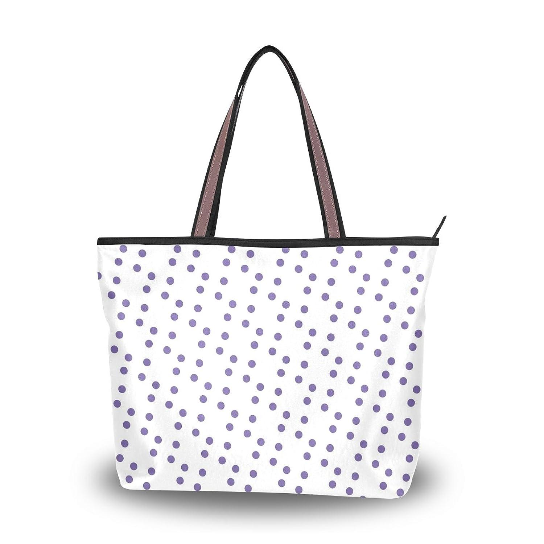 Women's School Handbag Shoulder Bags,Blue Polka Dots,Tote Bag