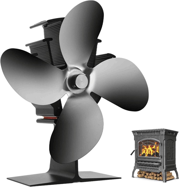 AFYH Ventilador de la Chimenea, Ventilador de Estufa de energía térmica leña de 4 aspas Funcionamiento silencioso y distribución de Calor eficiente para Quemador de Madera/leña/Chimenea