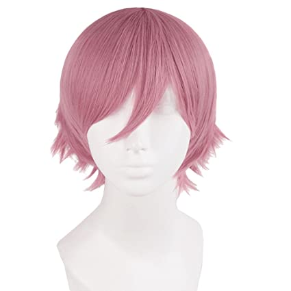 TrifyCore Hombres Cortos Rectos Anti-Alice Mixed Color Toupee Pelucas Cosplay Party Rosa