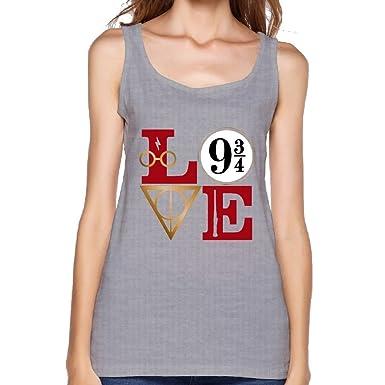 23a169fe LanZhuoq Womens Love Harry Potter Muscle Gym Gray Sleeveless Shirt S Tank  Tops