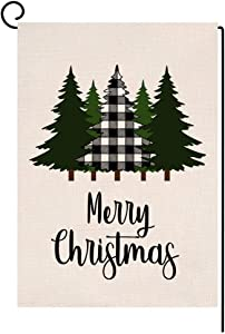 BLKWHT Christmas Garden Flag 12.5 x 18 Vertical Double Sided Winter Buffalo Tree Outdoor Decorations Burlap Small Yard Flag S1026