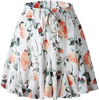 Qijinlook 💖Falda Corta Floral Blanca/Falda Inferior Volantes ...
