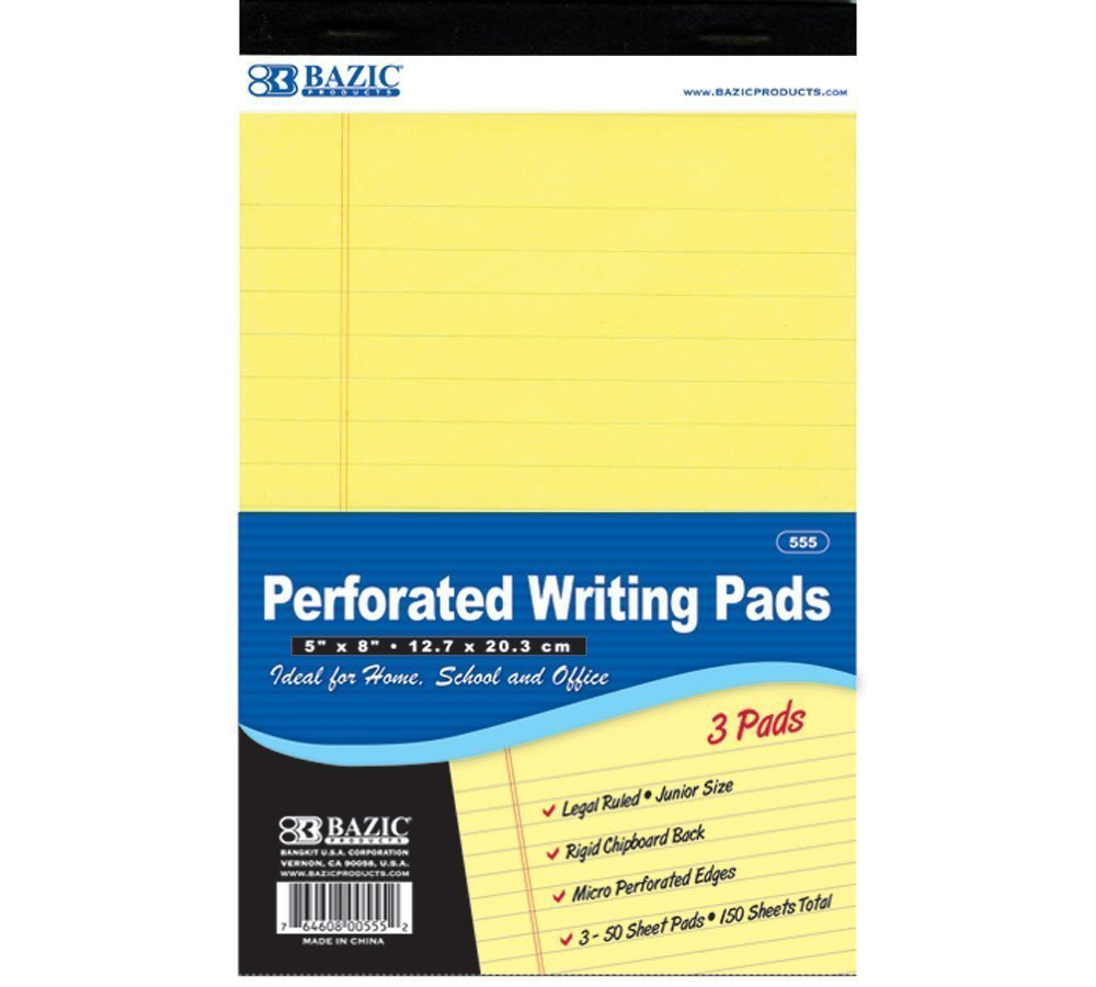 BAZIC 50 Ct. 5'' X 8'' Canary Jr. Perforated Writing Pad (3/Pack), Case Pack 24