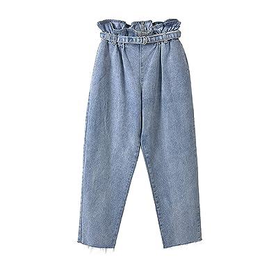 ADELINA Verano Otoño Mamá Jeans Damas Pantalones De Ocasionales Ropa Anchos Las Mujeres De Cintura Alta Pantalones Plisados Culotte 7 8 Airy Harem Pantalones: Ropa y accesorios