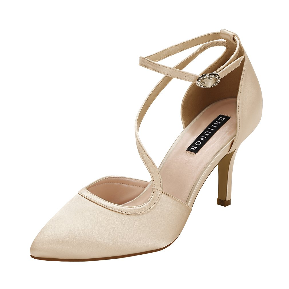 ERIJUNOR E1706 Women Comfortable Mid Heel Ankle Strappy Dress Pumps Pointed Toe Satin Wedding Evening Party Shoes Champagne Size 5