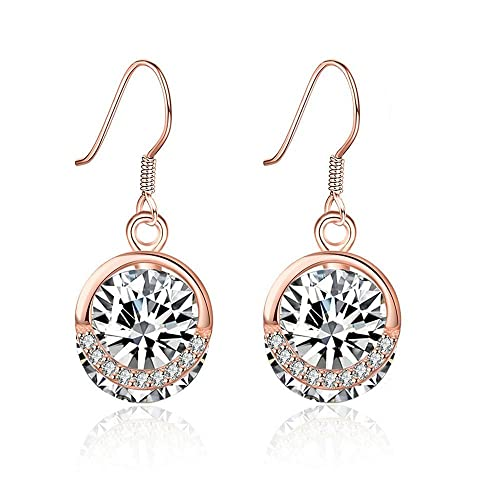 925 Sterlingsilber Ohrringe Damen Ohrhänger Rund Anhänger Zirkon Rosegold Silber