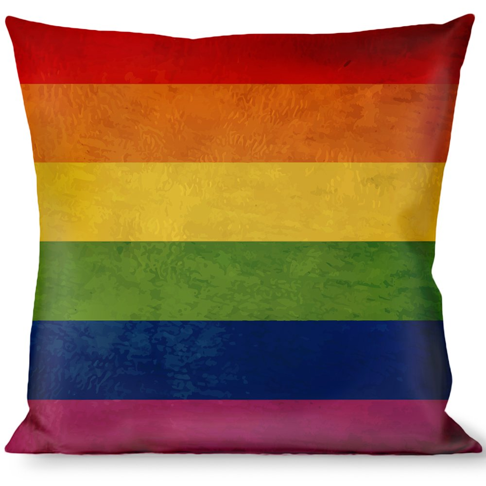 Buckle Down Throw Pillow-Flag Distressed Rainbow, Pride