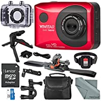 Vivitar DVR786 Full HD Waterproof Action Camera (Red) Accessory Bundle with Xpix Tripod + 32GB + Case + Fibertique Cloth