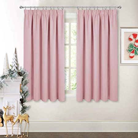 PONY DANCE Baby Pink Curtains - Nursery Pencil Pleat Room Darkening Curtain  Panels for Girl\'s Bedroom Solid Noise Reducing Light Blocking Window ...