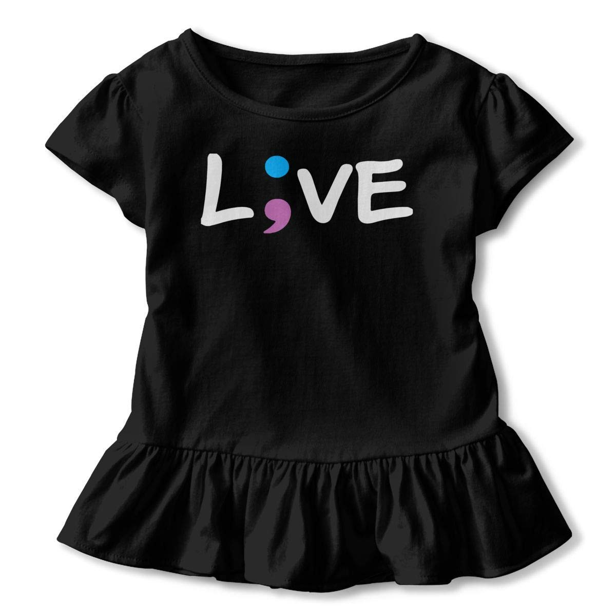 Casual Tunic Tops with Falbala 2-6T PMsunglasses Short-Sleeve Suicide Prevention Awareness Semicolon Live Shirts for Kids