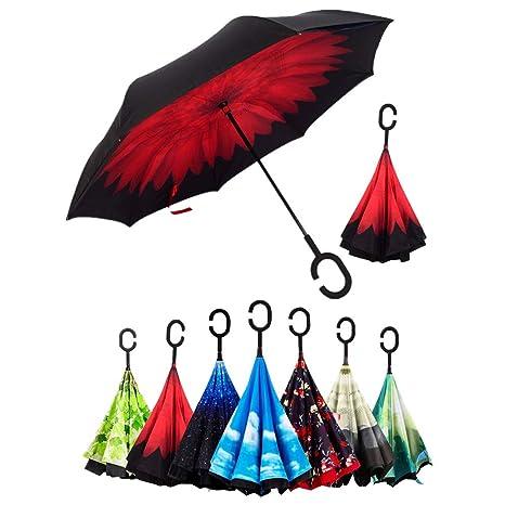 Paraguas Invertido, Sol y la lluvia Paraguas,Parasol de Protección Contra el Viento Ultravioleta de Reversa con Mango en Forma de C Para el Coche de ...