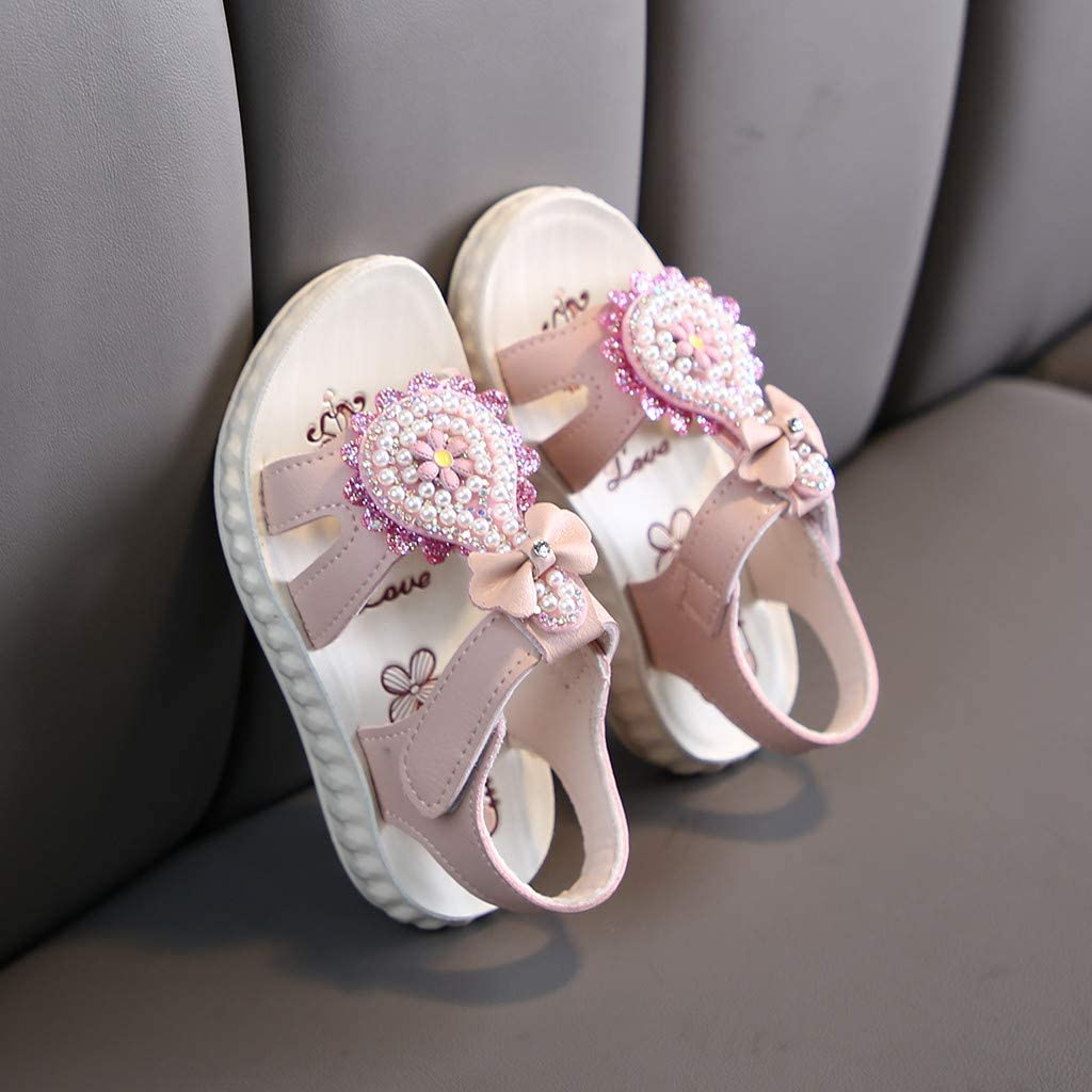 Children Kids Baby Girls Summer Open Toe Flower Sandals Pearl Princess Shoes UK