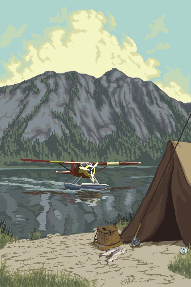Float Plane and Camping (24x36 Giclee Gallery Print, Wall Decor Travel Poster) by Lantern Press