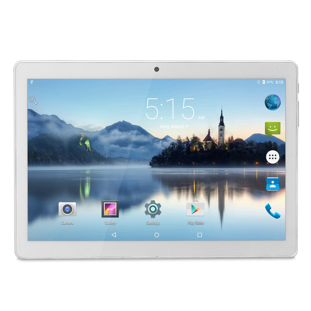 Tablet Android 10 Inch Unlocked 3G Phone, Tablets PC Dual SIM Card Slots 1GB+16GB Quad-Core IPS 1280x800, WiFi Bluetooth GPS Dual Camera Phablet,Silver