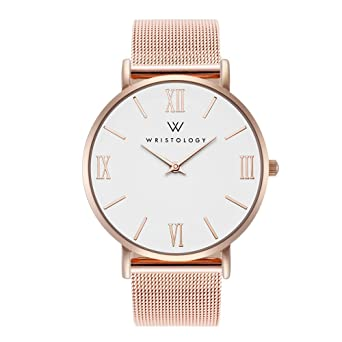 70412930d79 Image Unavailable. Image not available for. Color  WRISTOLOGY Stella Womens  Rose Gold Roman Numeral Wrist Watch Rose Gold Metal Mesh Easy Change Band