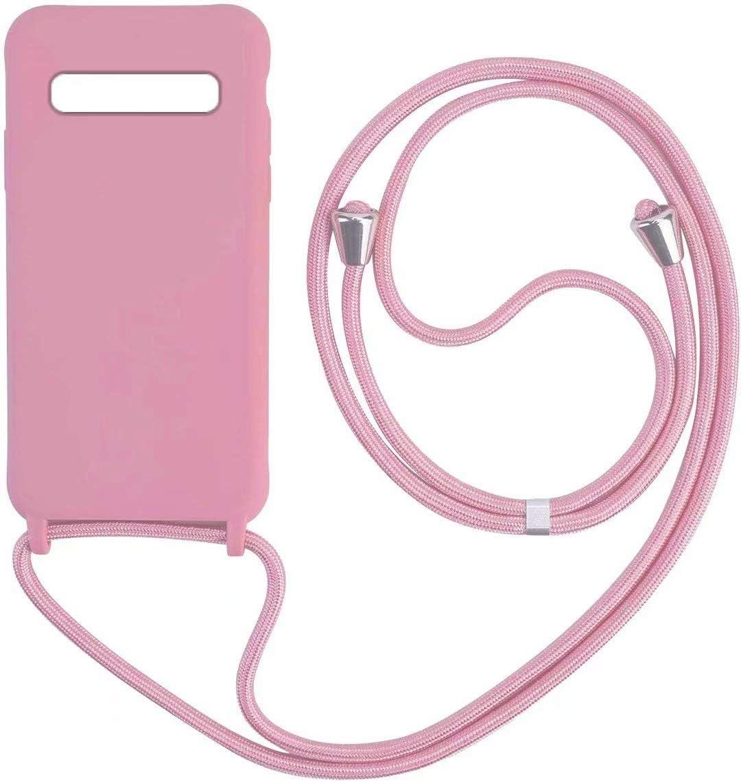Bigcousin Funda con Cuerda Compatible con Samsung Galaxy A41,Carcasa de Silicona con Colgante con Ajustable Collar Cadena Cord/ón,Rose Gold