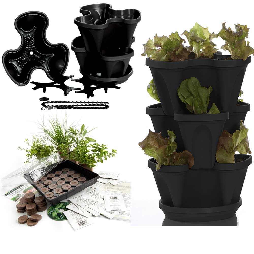 Amazon.com: Garden Stacker Planter + Indoor Culinary Herb Garden Kit    Great Gift Idea   Grow Cooking Herbs   Seeds: Cilantro, Basil, Dill,  Oregano, ...