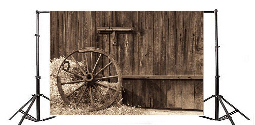 YongFoto 1,5x1m Vinyle Toile de Fond Ancien Hayloft en Bois int/érieur Coin du Conseil de Foin Vieille Roue Fond D/écors Studio Photo Video Fete Photobooth Photographie Props