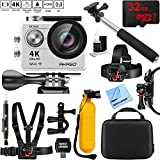 AKASO EK7000 Ultra HD 4k WIFI 170 Degree Wide Waterproof Sports Action Camera Silver + 32GB Outdoor Adventure Mounting Bundle