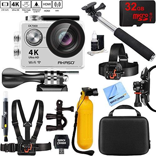 Akaso EK7000 Ultra HD 4k WIFI 170 Degree Wide Waterproof Sports Action Camera Silver + 32GB Outdoor Adventure Mounting Bundle by Beach Camera