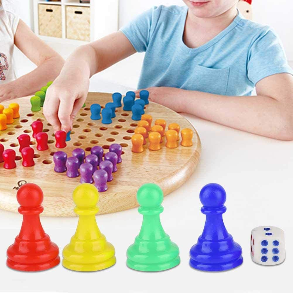 Alomejor Plastic Pawns Pieces Chess Game Pieces with 1 dice for Board Games Tabletop Markers Component
